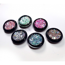 Lot de 6 pots de paillettes